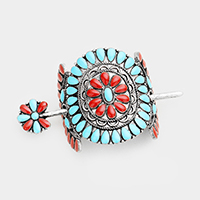 Tribal Antique Round Hair Barrette with Stick
