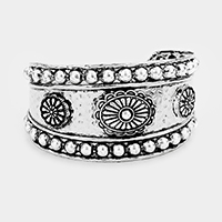Tribal Antique Floral Metal Cuff Bracelet