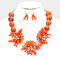 Beaded Triple Coral Detail Bib Necklace