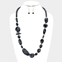 Multi Sized Abstract Beaded Bib Necklace