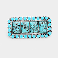 Oversized Tribal Turquoise Rectangle Stretch Double Ring