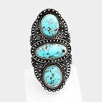 Oversized Tribal Antique Triple Oval Turquoise Stretch Ring