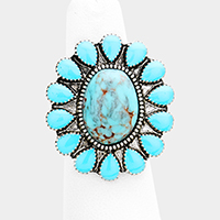 Oval Turquoise Centered Flower Stretch Ring
