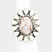 Oval Howlite Centered Flower Stretch Ring