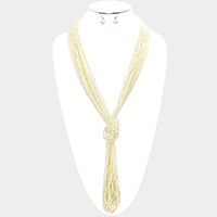 Thread Multi Strand Beaded Knot Y Long Necklace