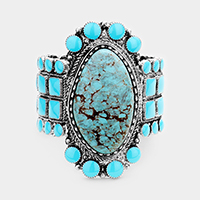 Tribal Oval Turquoise Centered Stretch Bracelet