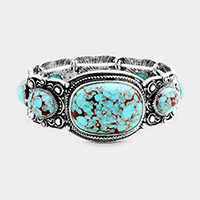 Tribal Oval Turquoise Stretch Bracelet