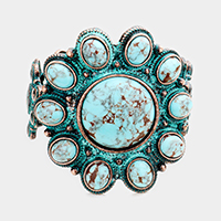 Tribal Turquoise Cluster Flower Stretch Bracelet