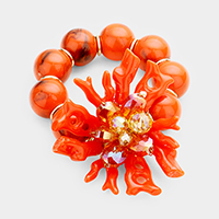 Beaded Coral Accented Stretch Bracelet