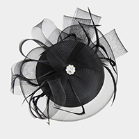 Jewel Accent Feather Mesh Fascinator
