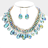 Beaded Cluster Teardrop Bead Fringe Bib Necklace