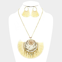 Wrapped Thread Disc Thread Fringe Necklace