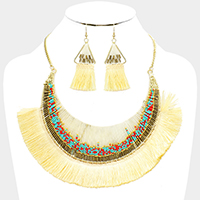 Wrapped Thread Crescent Moon Thread Fringe Bib Necklace