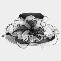 Medium Two Tone Organza Bow Detail Dressy Hat