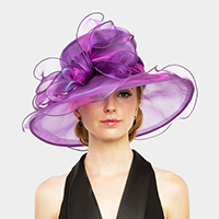 Medium Brim Two Tone Organza Dressy Hat