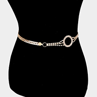 Crystal Rhinestone Pave Hoop Accented Chain Belt