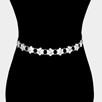 Stone Centered Flower Chain Belt