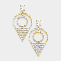Crystal Rhinestone Pave Triangle Accented Evening Earrings