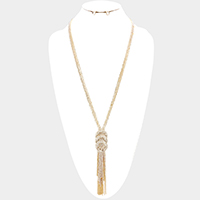 Triple Rhinestone Pave Hoop Chain Fringe Long Necklace