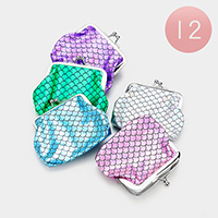 12PCS - Mermaid Tail Patterned Coin Clasp Purses
