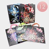 12PCS - Flower Butterfly Print Gift Bags