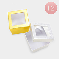 12PCS - Plaid Check Clear Window Jewelry Gift Boxes