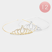 12PCS - Crown Crystal Rhinestone Pave Headbands