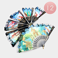 12PCS - Jesus Print Lace Folding Fans