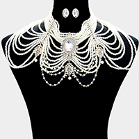 Draped Multi Strand Pearl Shoulder Necklace