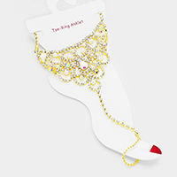Pearl Draped Crystal Rhinestone Pave Toe Ring Anklet
