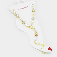 Floral Crystal Rhinestone Pave Teardrop Stone Toe Ring Anklet