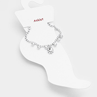 Teardrop Centered Crystal Rhinestone Pave Anklet