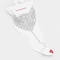 Crystal Rhinestone Pave Bubble Cluster Net Toe Ring Anklet