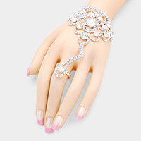 Crystal Teardrop Accented Pave Hand Chain Bracelet