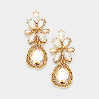 Marquise Floral Crystal Teardrop Dangle Earring