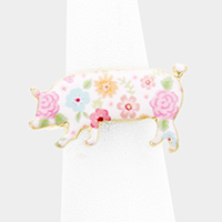 Flower Patterned Pig Stretch Ring