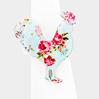 Flower Patterned Rooster Stretch Ring