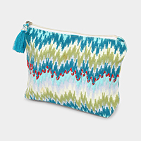 Zigzag Pattern Tassel Cosmetic Pouch Bag