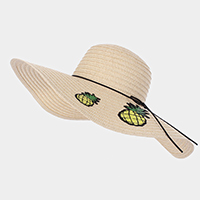 Double Pineapple Patch Paper Bow Trim Straw Floppy Sun Hat