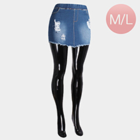 Destroyed Comfy High Elastic Waist Frayed Denim Short Skirts