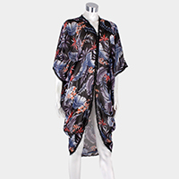 Feather Pattern Edge Detail Cover Up Poncho