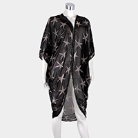 Starfish Pattern Edge Detail Cover Up Poncho