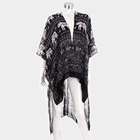 Aztec Elephant Pattern Cover Up Open Poncho