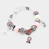 Multi Beaded Pink Ribbon Charms Bracelet