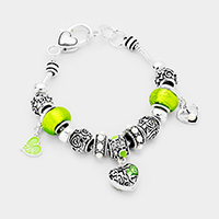 Multi Beaded Heart Charms Bracelet