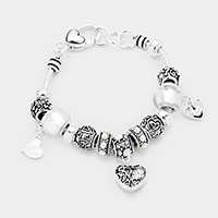 Multi Bead Heart Charms Bracelet
