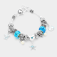 Multi Beaded Starfish Turtle Sand Dollar Charms Bracelet