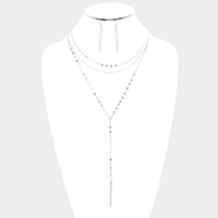 Triple Layered Drop Thin Metal Bar Y Necklace