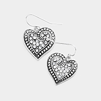 Antique Crystal Rhinestone Pave Heart Dangle Earrings
