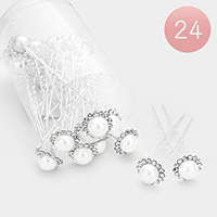 24PCS - Stone Trim Faux Pearl Flower Mini Hair Comb Pins